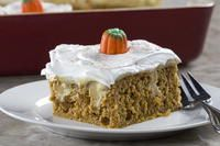 What To Do: Preheat oven to 350 degrees F. Coat a 9- x 13-inch baking dish with cooking spray. In a large bowl with an electric mixer, beat cake mix, pumpkin, eggs, and water until thoroughly combined. Pour into baking dish. Bake 25 to 30 minutes, or until toothpick inserted in center comes out clean. Let cool. Using the handle of a wooden spoon, poke 25 to 30 holes in cake. In a large bowl, whisk pudding mix, pumpkin pie spice, and milk until slightly thickened. Pour mixture into holes and…