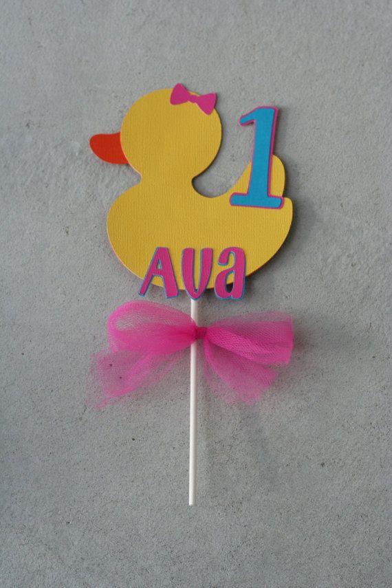 Girl Duck Smash Cake Topper, Rubber Duck,Duck Birthday, Ducky Baby Shower on Etsy, $8.00
