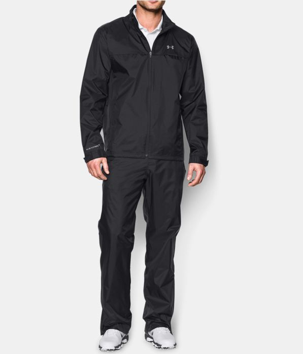 Men's UA Storm Golf Rain Suit, Black , Front