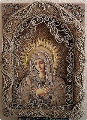 Картина панно рисунок Рождество Аппликация Макраме Макраме-Икона Умиление Бусины Картон Нитки Ткань фото 1