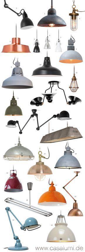 23 Industrielampen und eine Tischleuchte * 23 industrial style pendant lights and one table lamp