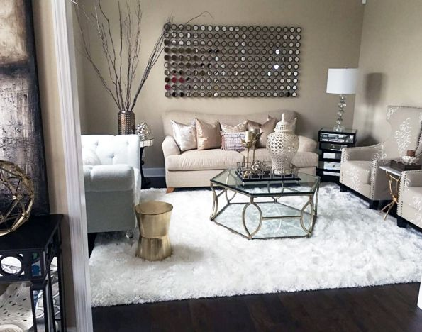 My Formal Living Room With Copper Accents And White Faux Fur Rug | Farah  Merhi Part 37