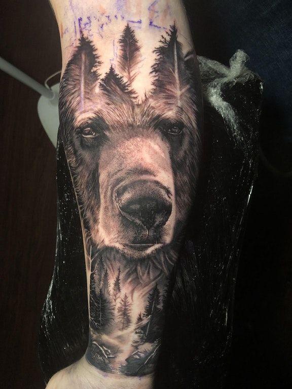 Bear Tattoo On Man Forearm Bear Tattoo Designs Grizzly Bear Tattoos Bear Tattoos