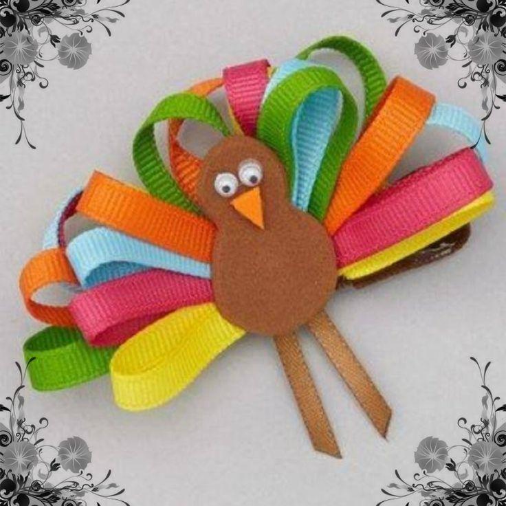 Thanksgiving Turkey Hair Clip www.facebook.com/PonytailsandPixieDust