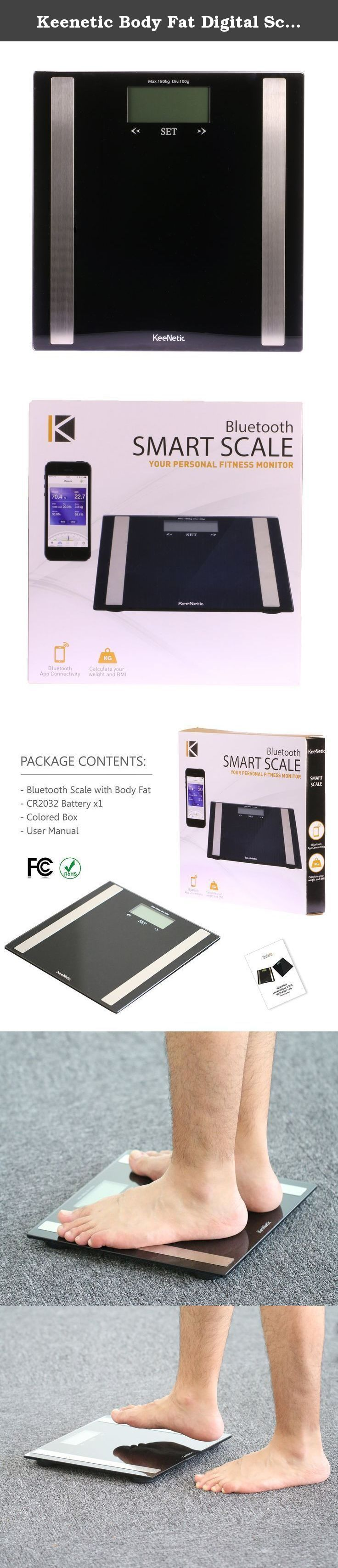 Keenetic Body Fat Digital Scale, Measures Weight, Fat, Muscle, Water, & Bone Mass Bath Weight Scales. Bluetooth SMART Technology Keenetic Smart Scale measures your weight and when combined with app, c