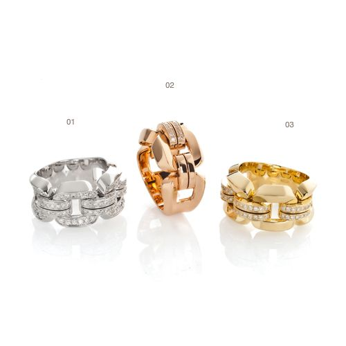 01) White gold ring with diamonds 02) Rose gold ring with diamonds 03) Yellow gold ring with diamonds