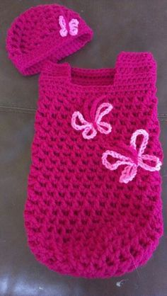 crochet cocoon pattern free | Pink Football Baby Cocoon and Hat