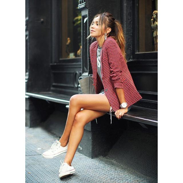 Womens Spring Fashion Red Plaid Blazer Turn-down Collar Long Sleeve Suit Ladies Casual Slim jackets