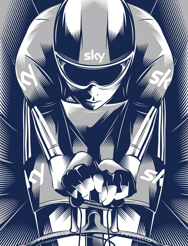 An illustration of Olympic and Tour de France winner Bradley Wiggins from Team Sky.
