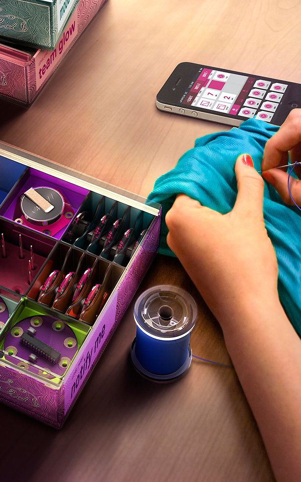 """Hello World DIY - Seattle Sew it into their clothing. This is a kit of """"accessible Arduino projects"""" that are wearable without programming skills."""""""