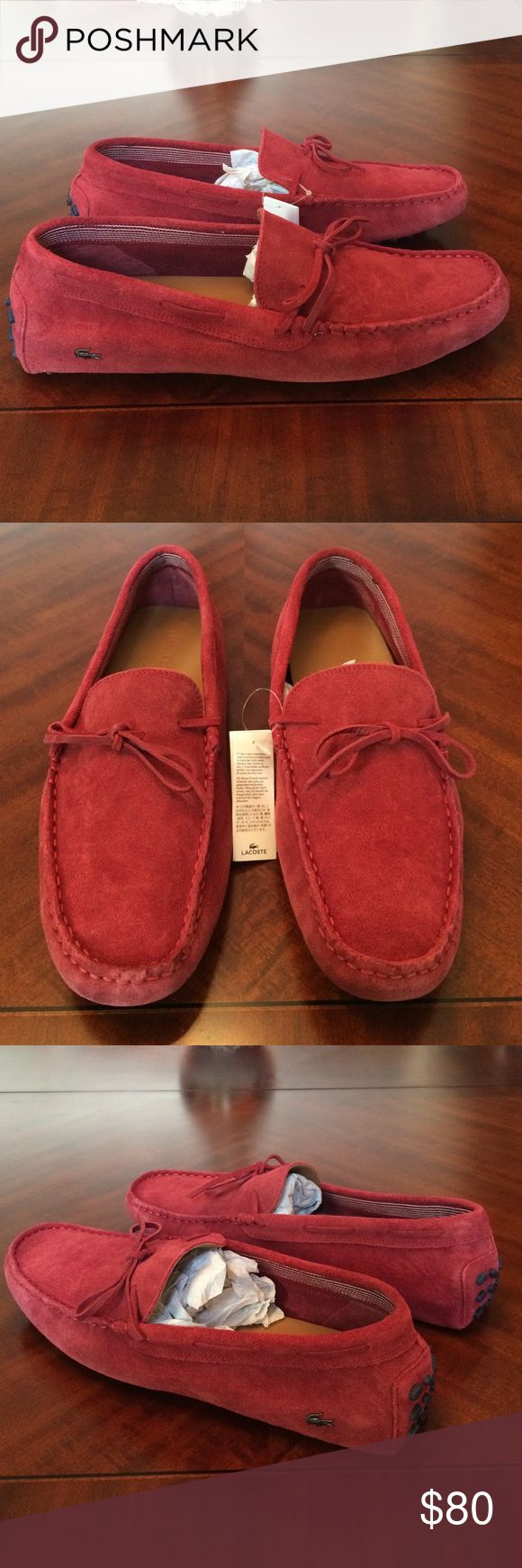 Lacoste driver loafers leather suede dress men new Brand new mens lacoste driving loafer shoes. In dark red maroon color suede. Leather sole. These are the best lacoste shoes you can buy with the metal logo. These are very comfy and the leather and suede is real soft. High quality sneaker. Size 11 men. Size 13 womens. Bought in nordstroms a few years ago. These arent made anymore so hard to find. Thanks. Lacoste Shoes Loafers & Slip-Ons