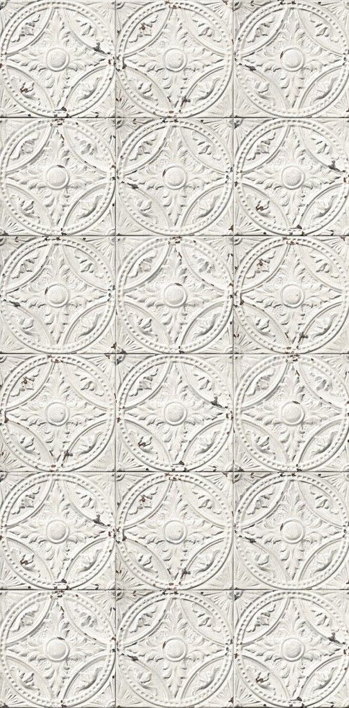 THIS IS WALLPAPER ! White antique tin tiles wallpaper by KOZIEL
