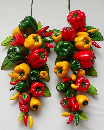 Red Yellow Green Pepper Swag Kitchen Restaurant Decor