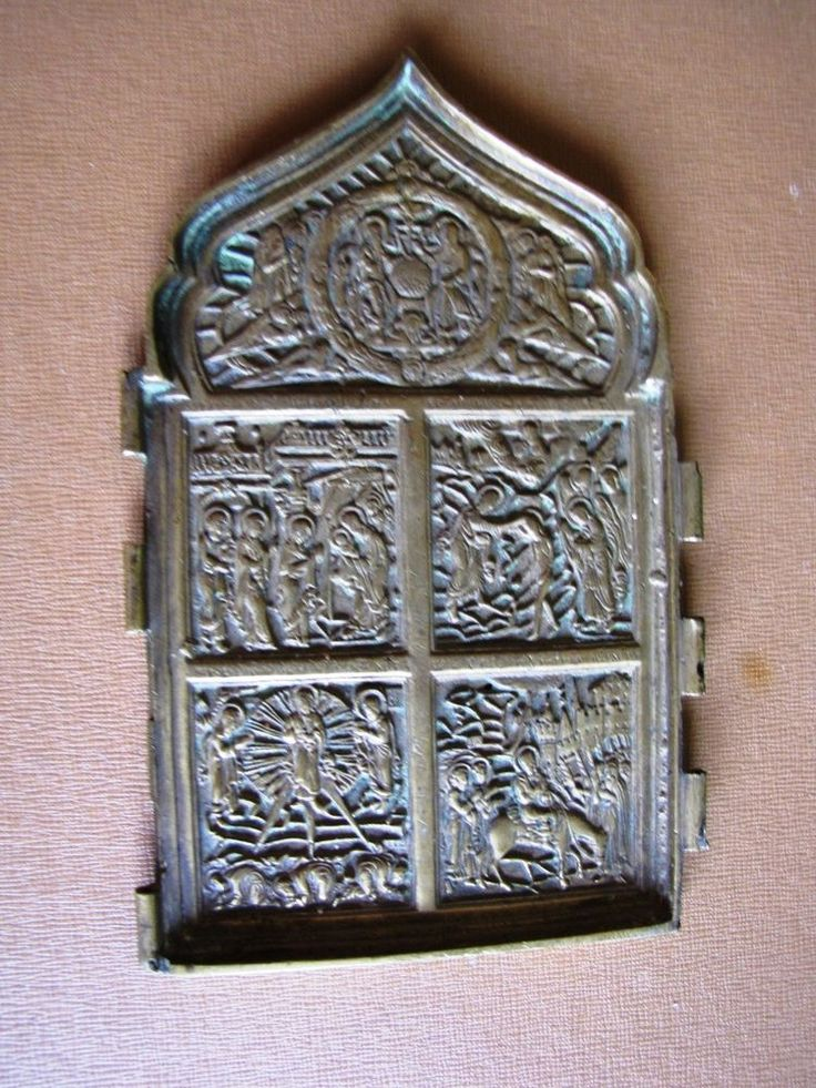Old Russian Orthodox Bronze Icon Fold Feasts XIXc #2  Religion Christianity