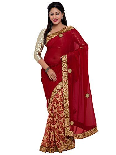 Indian Women red color georgette sari INDIAN WOMEN http://www.amazon.in/dp/B01NBNKEO1/ref=cm_sw_r_pi_dp_x_ny4Byb0Q0C4E8