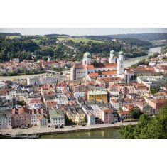 Blick von der Veste Oberhaus auf die Altstadt , St. Stephan Dom, Stadtpfarrkirche St. Paul, Donau, Passau, Fotograf: C. Körte, #Merian, #Passau, #Fototapete