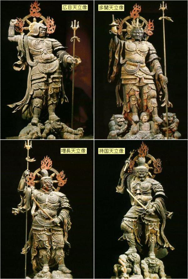 【京都・東寺/四天王立像(839年)】講堂の東西南北を護る持国天、広目天、増長天、多聞天はいずれも1.7~2mと堂々たる体躯。仏教の守護神である「天」とは人間と仏の間の存在だという。 #仏像