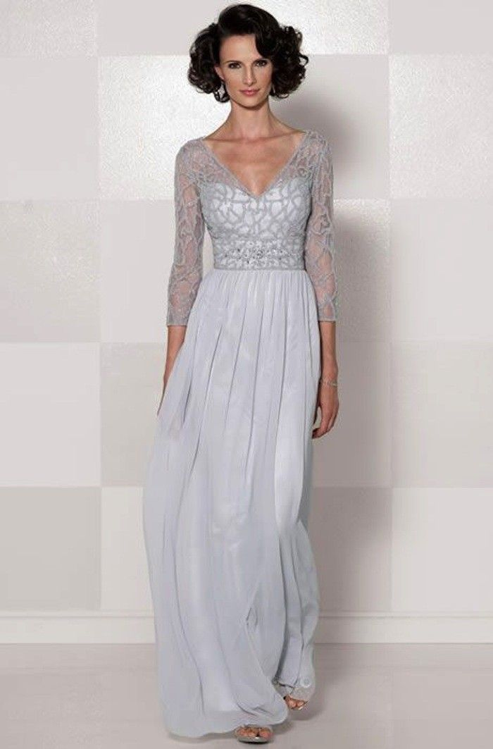 Chiffon V Neck 3 4 Sleeve Long Slim Lace Mother Of The Bride Dress With A Drape Gowns Pinterest Groom And