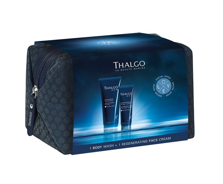 ThalgoMen Grooming Kit, containing Wake-Up Shower Gel and Regenerating Cream inside a wash bag - the perfect gift for any man, and great for holidays too!