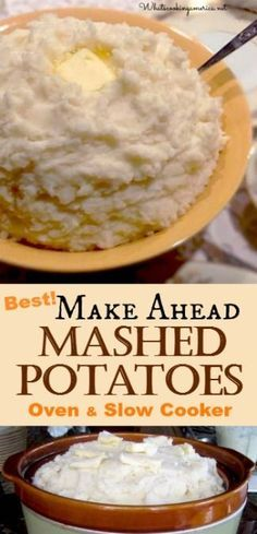 Best Make Ahead Mashed Potatoes Recipe - Oven & Slow Cooker Instructions  |  http://whatscookingamerica.net  | #mashed #potatoes #slowcooker #crockpot #thanksgiving #christmas