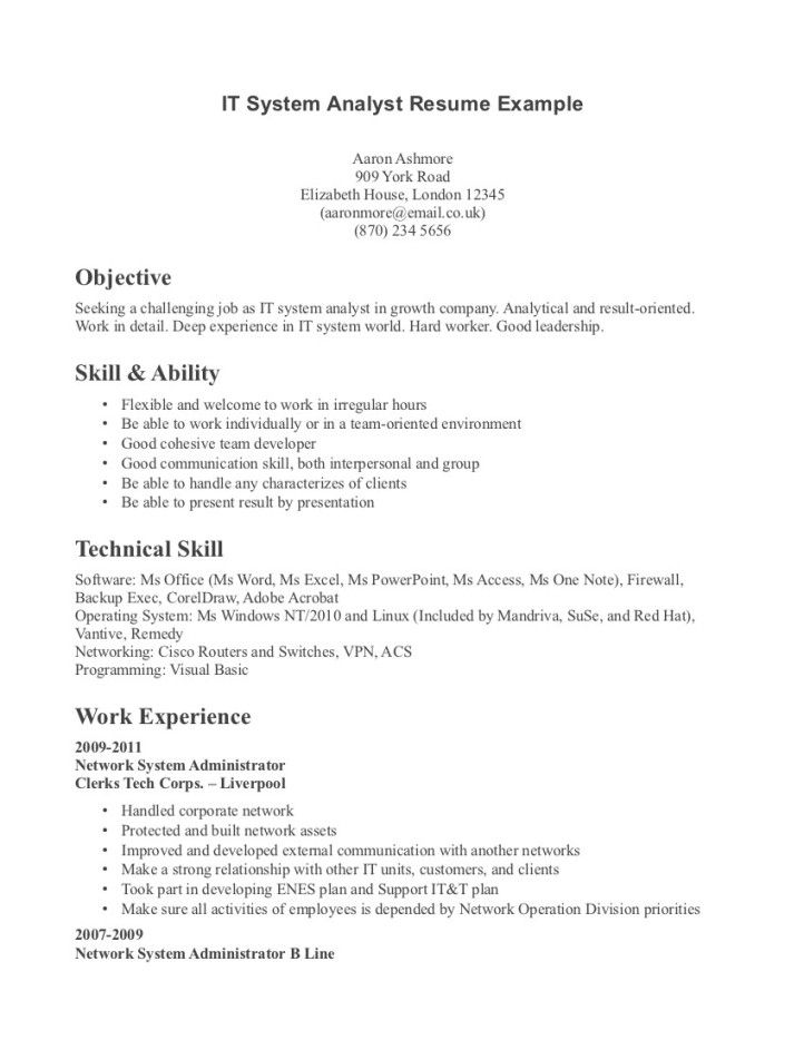 resume examples of technical skills