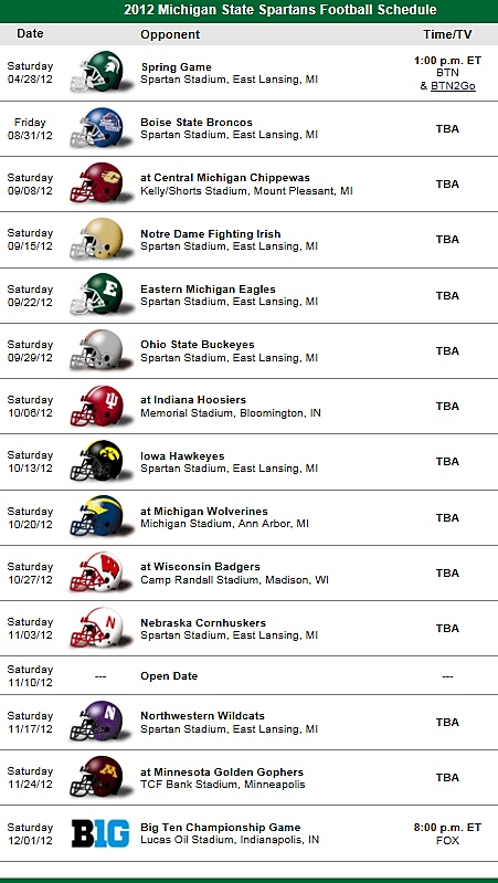 Michigan State Spartans Football Team 2012 Schedule