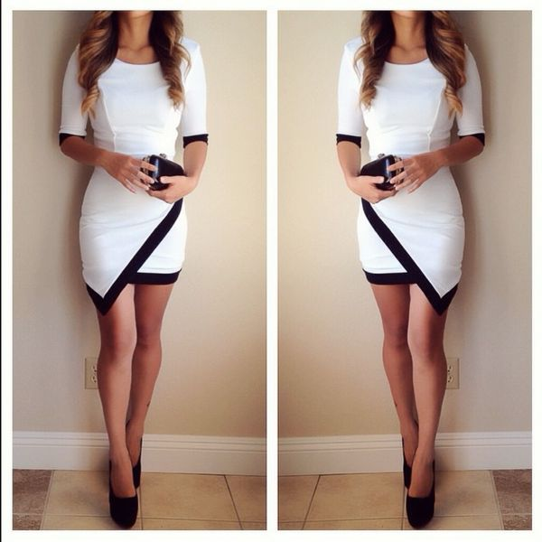 - Available in White - Asymmetrical Liverpool Contrast Dress - 96% Polyester…