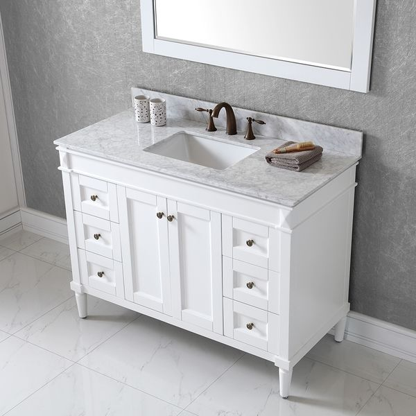 Virtu usa tiffany 48 inch single sink white vanity with - 48 inch white bathroom vanity with top ...