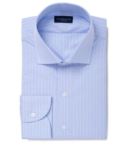 Miles 120s Light Blue Fine Check Tailor Made Shirt by Proper Cloth
