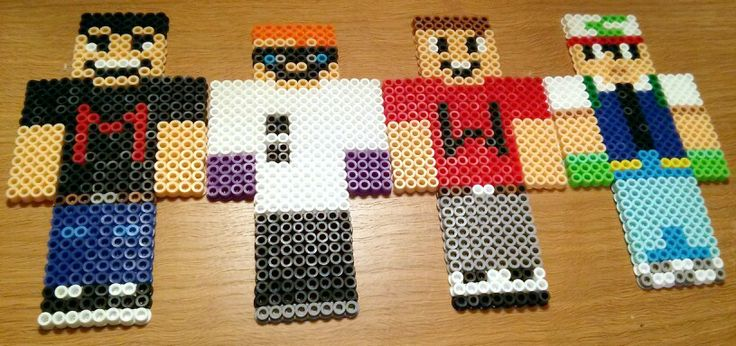 The Drunk Minecraft gang plus Yamimash  perler beads by Leon Courtney