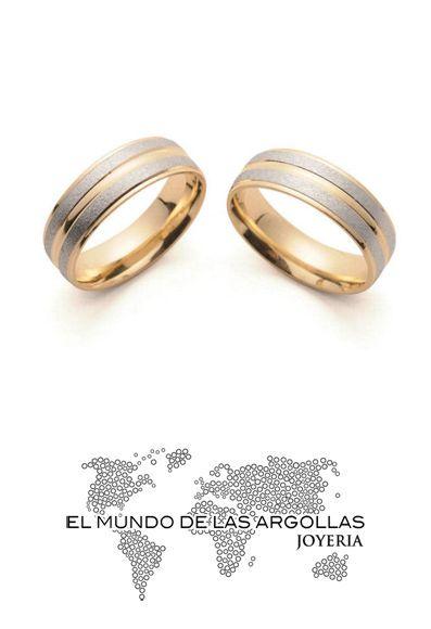 Modelo: A-A90106M Argolla oro amarillo 14k confort esmerilado y platinado con biceles amarillos 6mm #ArgollasDeMatrimonio