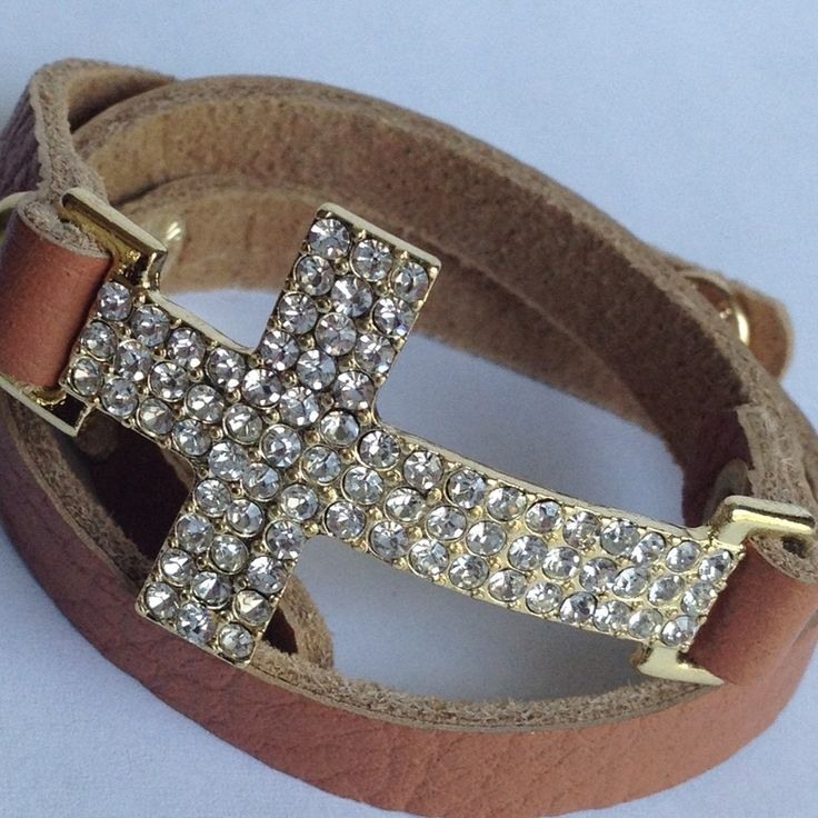 Crystal Cross Wrap Bracelet: Wrap Bracelet Love, Cross Jewelry, Leather Wrap Bracelets, Wrap Bracelet Yes, Sideways Crosses, Wrap Bracelet Want, Cross Bracelets, Leather Bracelets