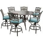 Hanover Traditions 7-Piece Outdoor Bar-Height Dining Set with Round Cast-Top Table and Swivel Chairs with Blue Cushions