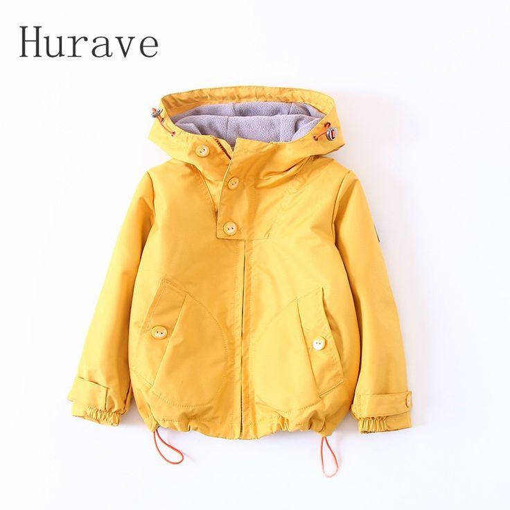 Hurave 2017 детская утепленная куртка для девочек детская одежда осенняя верхняя одежда модная верхняя одежда для малышей Тренчи для женщин C9L4