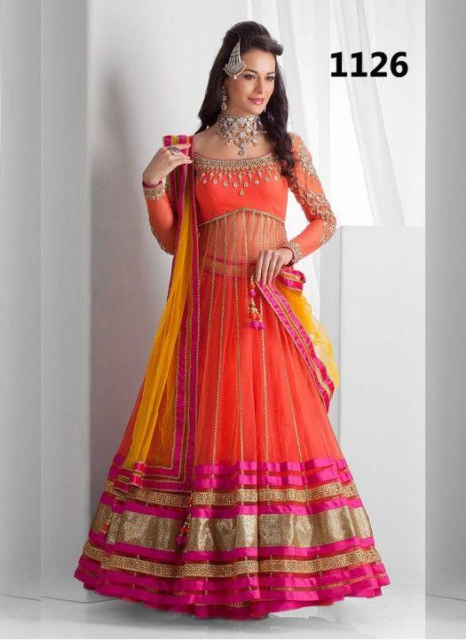Orange & Yellow Designer Embroidery With Lace work Lehenga Choli
