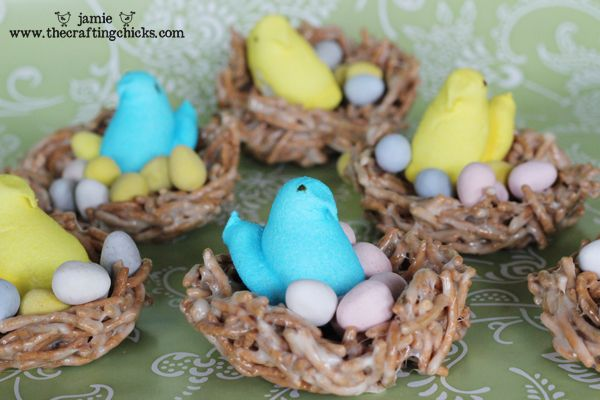 Easter treats are made with Chinese noodles for the nests and filled with Peeps birds and candy eggs. Easy.