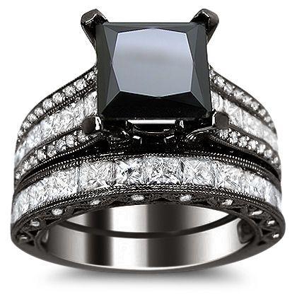 4.70ct Black Princess Cut Diamond Engagement Ring Bridal Set 18k Black Gold / Front Jewelers