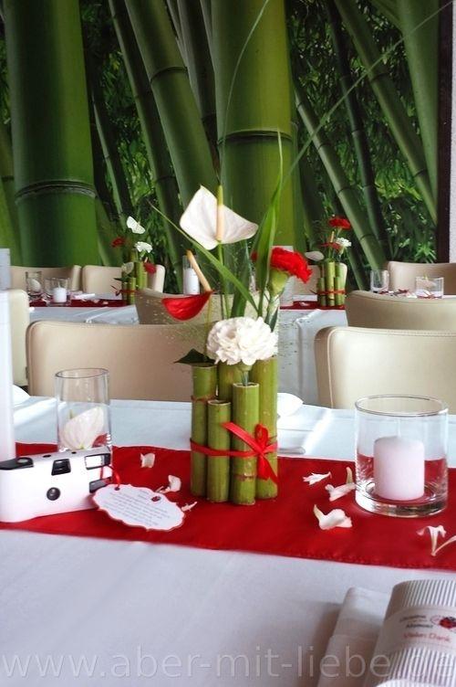 Tischdeko In Rot Weiss Hochzeitsdeko Renautria Gebundelt Als