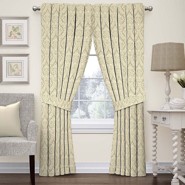 Waverly Donnington Damask Curtain, Beig/Green (Beig/Khaki)