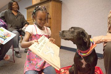 """Dogs in the Forest Park's library for """"Read To A Dog!"""" 