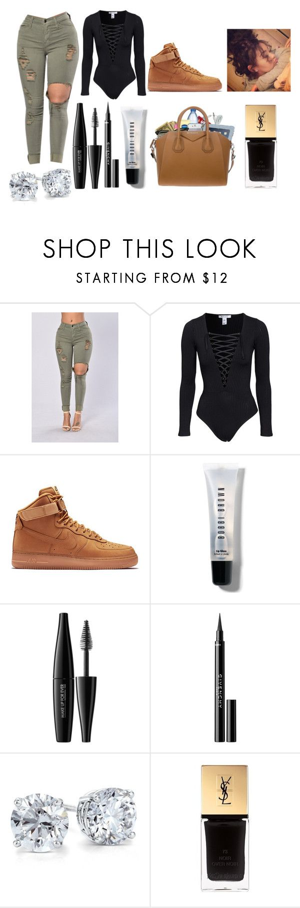 """""""Untitled #3537"""" by mecca-tiana ❤ liked on Polyvore featuring NIKE, Bobbi Brown Cosmetics, MAKE UP FOR EVER, Givenchy, Blue Nile, Roque and Yves Saint Laurent"""