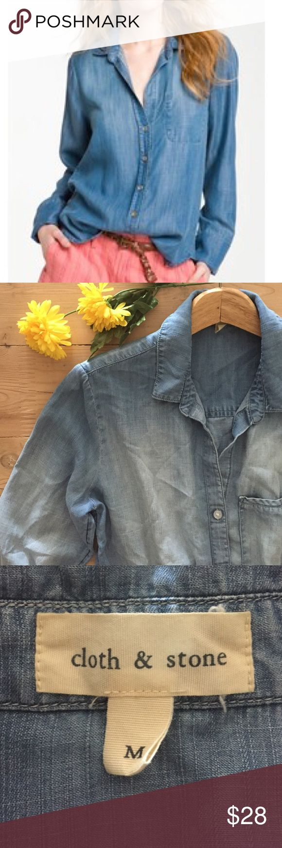 Anthropologie Cloth & Stone Chambray Top High quality, super soft distressed blue chambray button down shirt.  Drapes beautifully.  In excellent, gently used condition. Anthropologie Tops Button Down Shirts