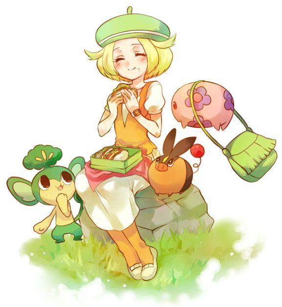 1girl bag bel_(pokemon) beret blonde_hair closed_eyes eating eyes_closed handbag hat irouha orange_legwear pansage pokemon pokemon_(game) pokemon_bw sitting skirt tepig