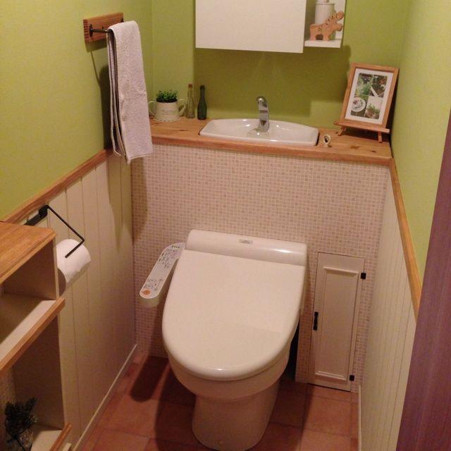 完成‼︎/ペイント♡/棚DIY/DIY/トイレ改造計画/バス/トイレ…などのインテリア実例 - 2014-06-21 17:31:20 | RoomClip(ルームクリップ)