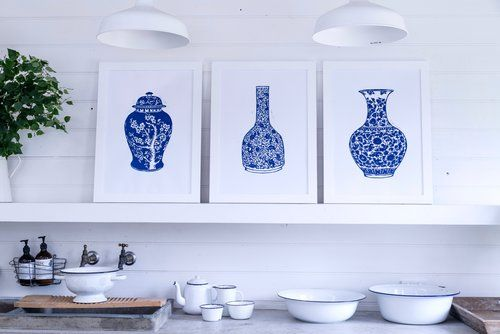 Limited edition lino prints of  blue and white china urns created by Tracey Fletcher king and sold exclusively by The Arthouse Collective