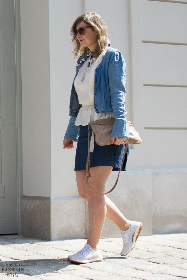 Denim Fashion Trends 2017,Outfit, Streetstyle, Denim on Denim, Denim All Over, Jeans Jacket, Denim Skirt, Adidas Pure Boost