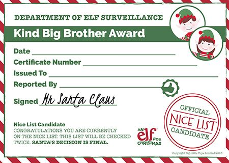 13 best Christmas Elf Certificates images on Pinterest Christmas - official certificate template