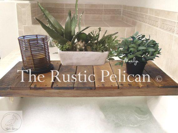 Reclaimed Wood Bathtub Tray  Bathtub Tray  by RusticPelican