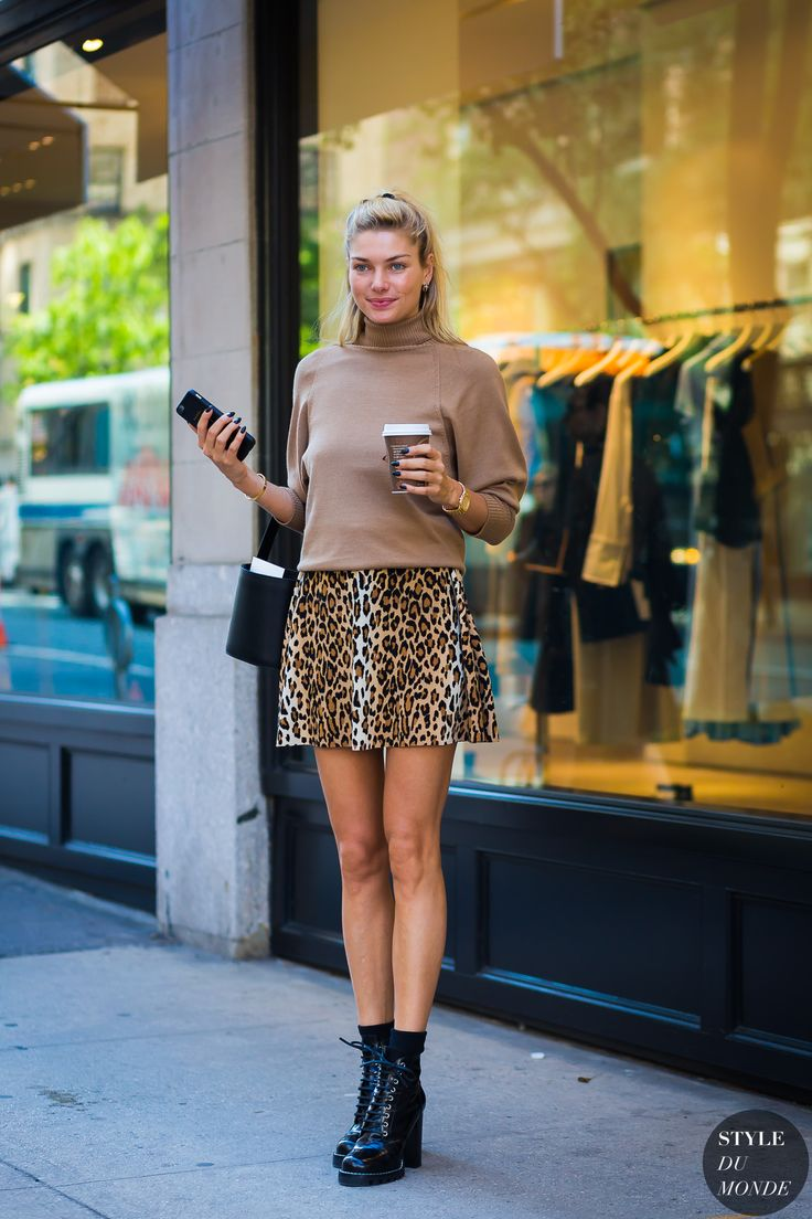 This cheetah skirt totally completes Jessica Hart's look.