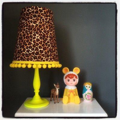 Pom pom leopard print lampshade priced to GO GO GO!!